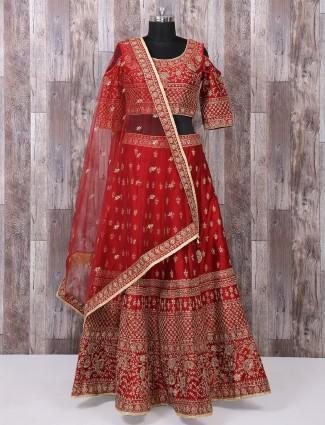 Red raw silk fabric bridal wear lehenga choli