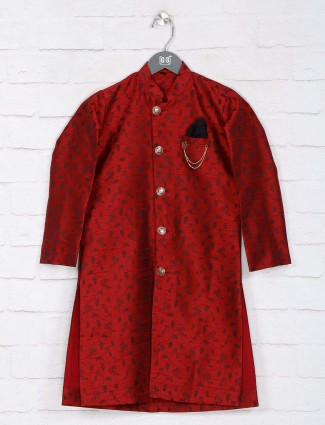 Red raw silk indo western for boys