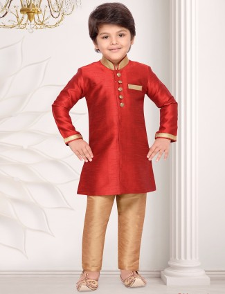 Red raw silk kurta suit