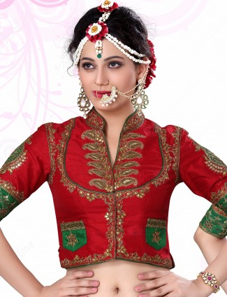 Red raw silk nice designer ready made blouse