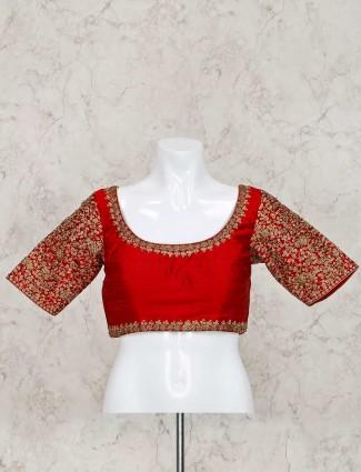 Red raw silk ready made designer blouse