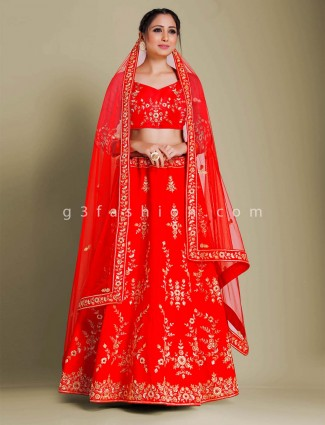 Red raw silk semi stitched lehenga choli for bridal