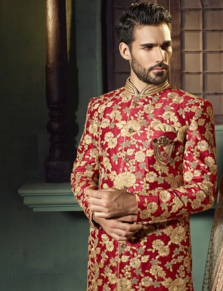 Red raw silk wedding wear indo western