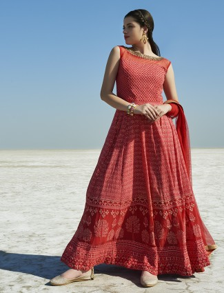 Red ready made georgette anarkali suit