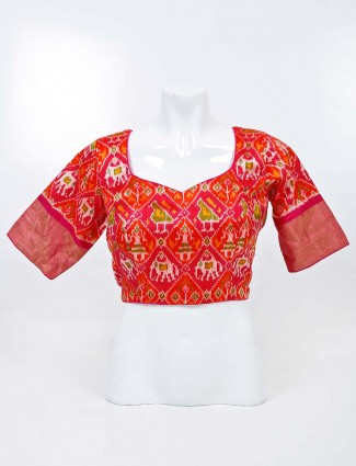 Red readymade blouse with sweetheart neck in patola silk