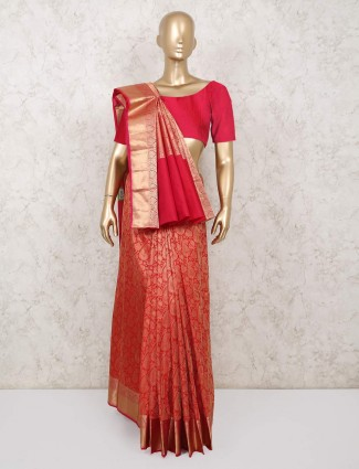 Red saree for reception in south pure silk