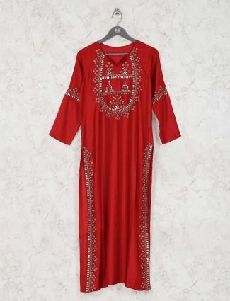 Red satin silk festive designer kurti