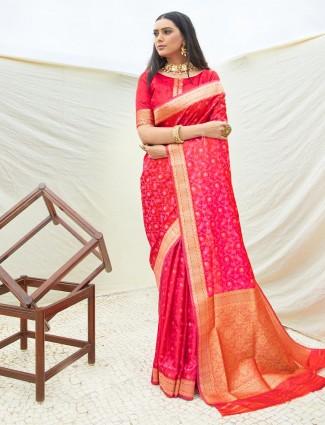 Red semi banarasi silk for reception