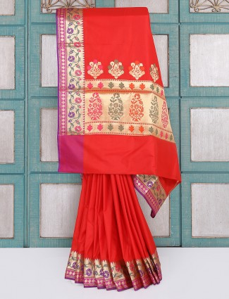 Red semi silk saree for wedding function