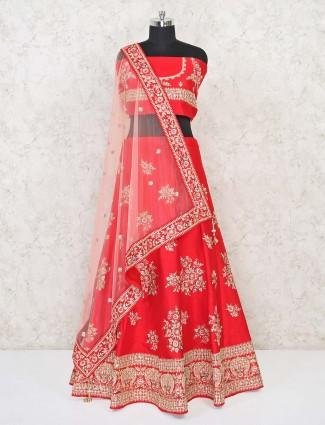 Red semi stitched brida lehenga in silk