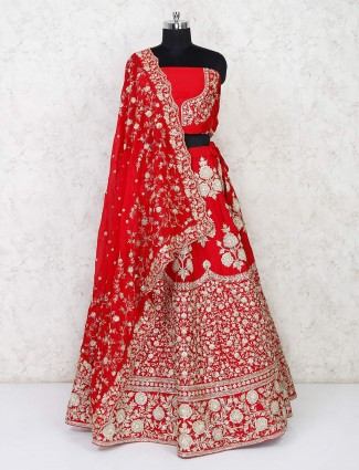 Red semi stitched lehenga for wedding bride in silk