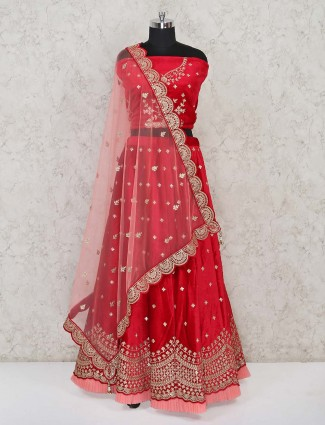 Red semi stitched velvet ghaghra choli for bride