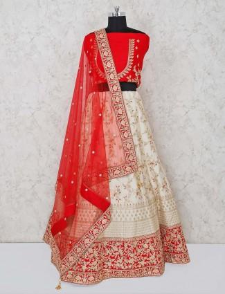 Red semi stitched wedding lehenga choli