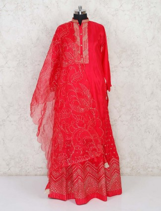 Red sequins work anarkali salwar suit in cotton silk