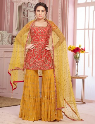 Red sharara salwar kameez in raw silk