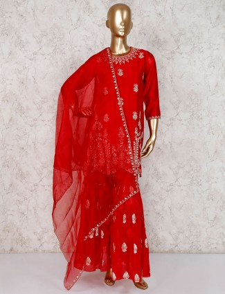 Red sharara suit for wedding