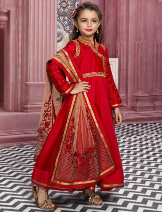 Red silk alluring wedding wear anarkali suit