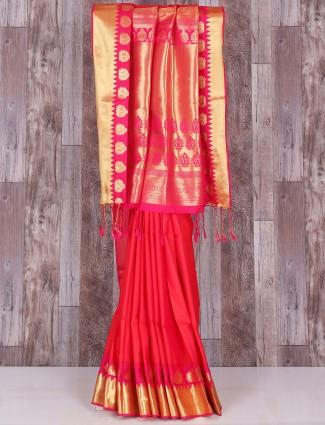 Red silk amazing wedding saree