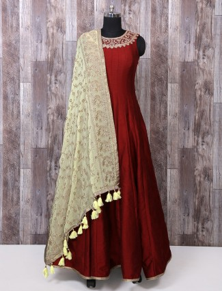 Red silk anarkali suit for wedding function