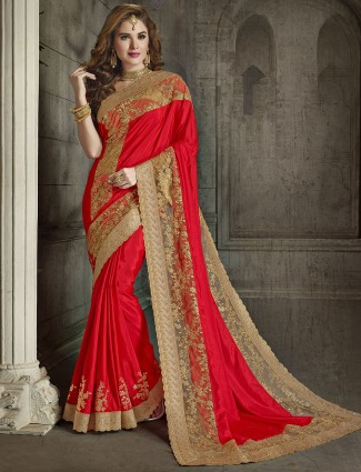 Red silk and net wedding saree