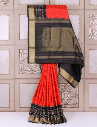 Red silk attractive wedding wear saree