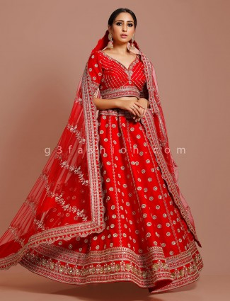 Red silk bridal wear exclusive lehenga choli