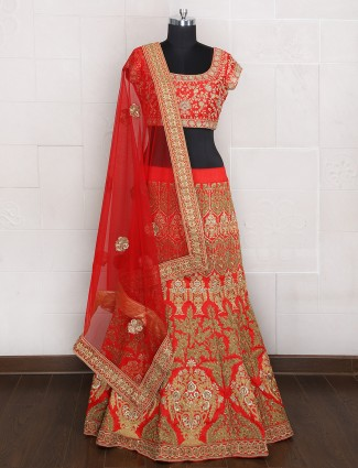 Red silk bridal wear unstitched lehenga choli