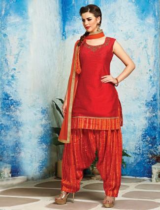 Red silk classy punjabi suit