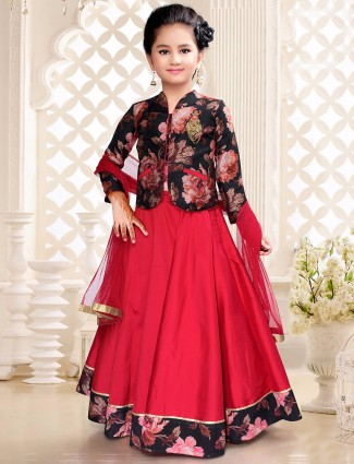 Red silk dressy lehenga choli