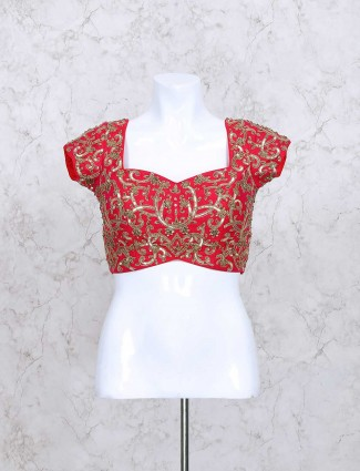Red silk fabric ready made sequins blouse