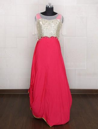 Red silk one piece wedding wear suit