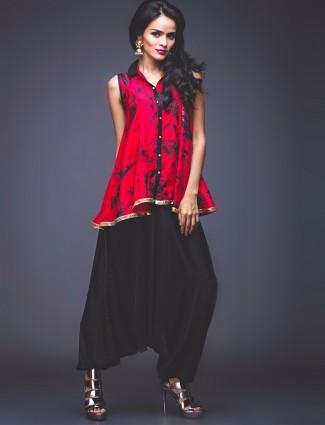 Red silk printed peplum suit