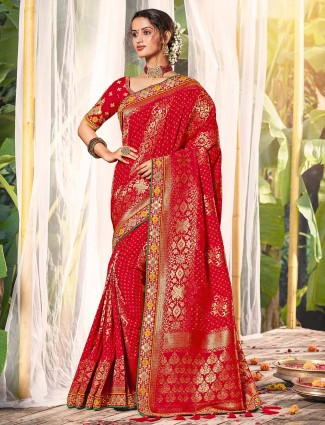 Red silk saree with gota work for wedding function