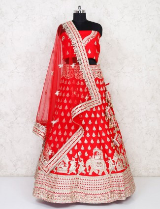 Red silk semi stitched lehenga for wedding