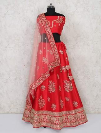 Red silk semi stitched wedding wear lehenga