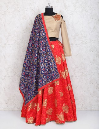 Red silk wedding fucntion lehenga choli
