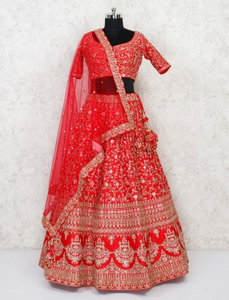Red silk wedding sweetheart neck lehenga choli