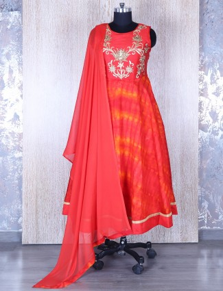 Red silk wonderful anarkali suit