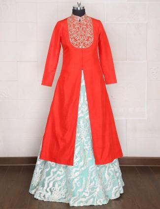 Red sky blue net silk indo western