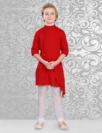 Red solid cotton kurta suit