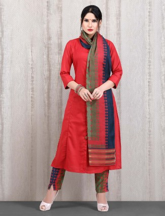 Red solid cotton punjabi straight cut pant suit