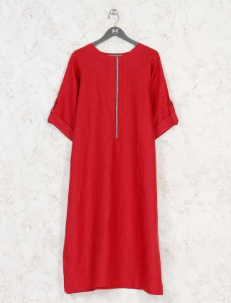 Red solid kurti in cotton
