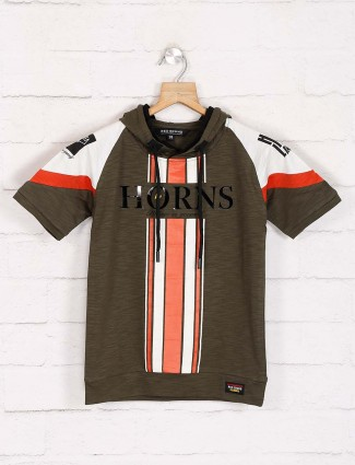Red Sound olive stripe cotton t-shirt