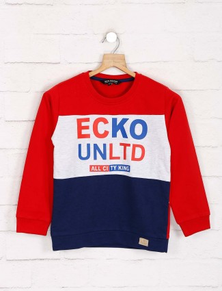 Red Sound red and navy printed sweatshirt