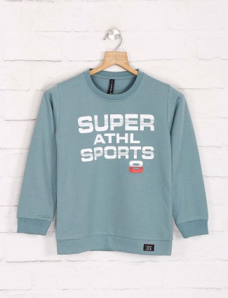 Red Sound sea green printed sweatshirt