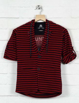 Red stripe pattern cotton blazer