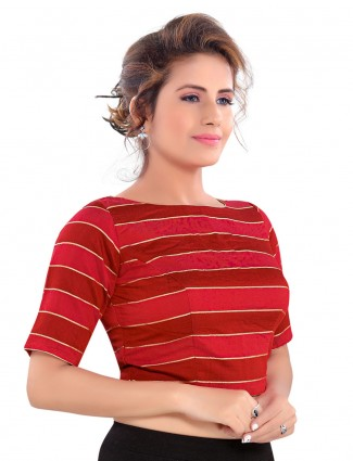 Red striped cotton silk readymade blouse