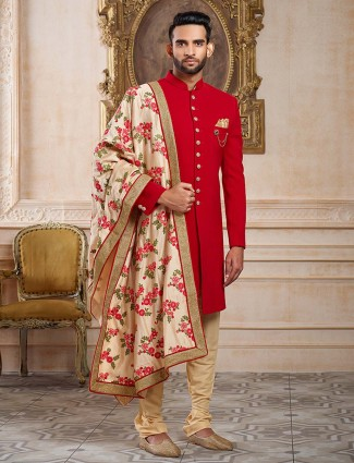Red terry rayon wedding wear mens indo western