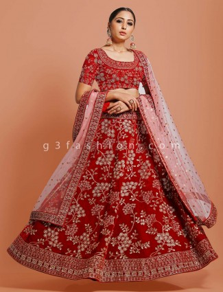 Red velvet bridal wear designer lehenga choli