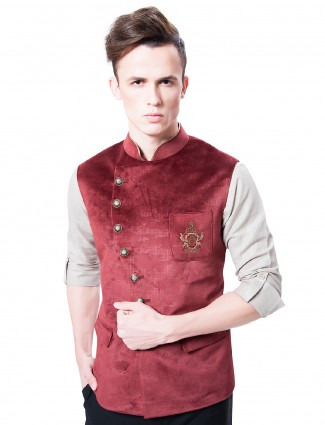 Red velvet party wear waistcoat